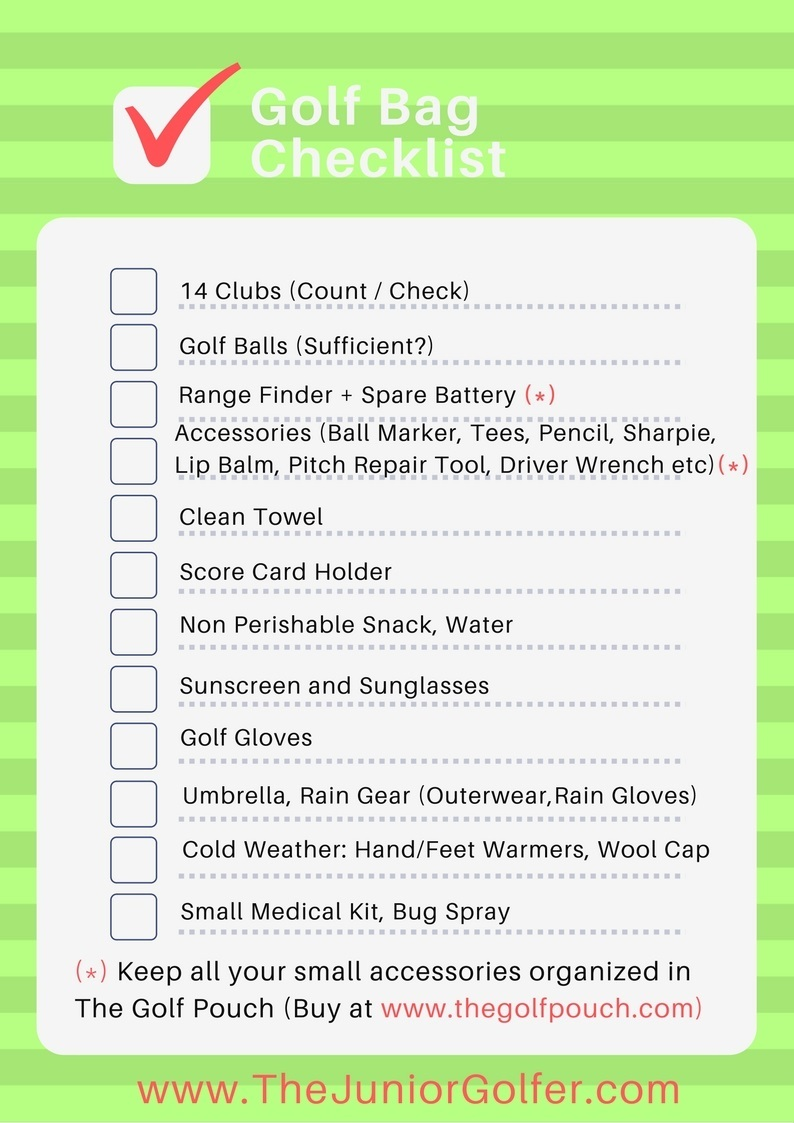 TheJuniorGolfer Golf Bag Packing Checklist