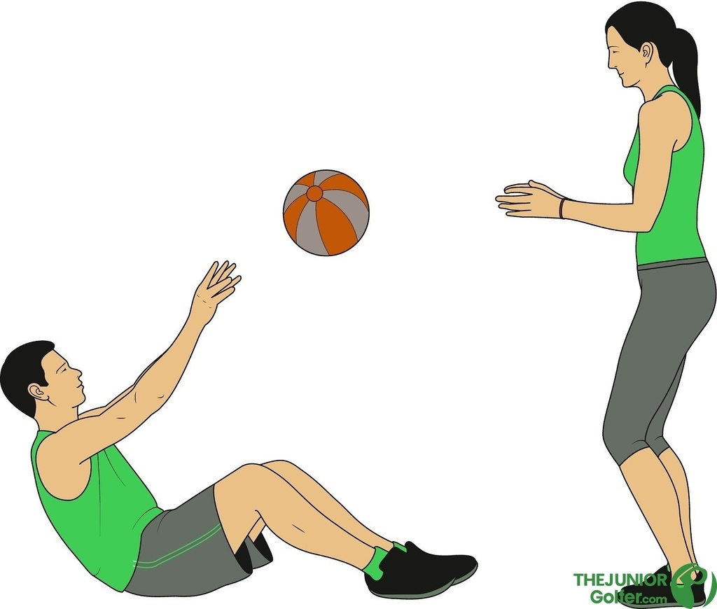 junior golf fitness medicine ball throw